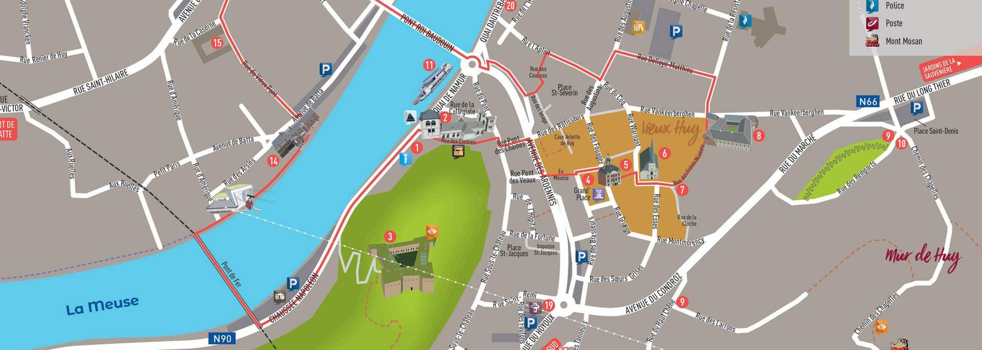 Plan du centre de la ville de Huy